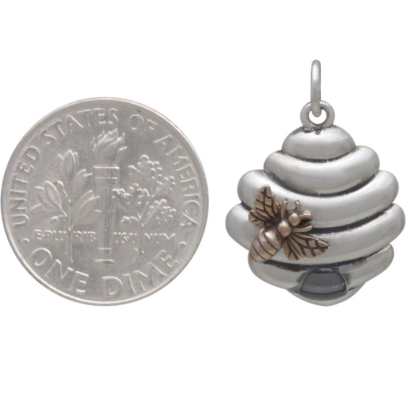 Sterling Silver Beehive Charm with Bronze Bee