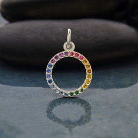 Sterling Silver Rainbow Circle Charm with Nano Gems