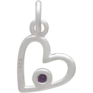 Sterling Silver Birthstone Heart Charm -February Amethyst