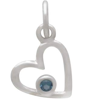 Sterling Silver Birthstone Heart Charm -March Aquamarine