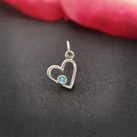 Sterling Silver Birthstone Heart Charm -March Aquamarine