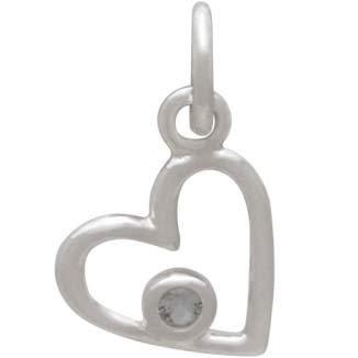 Sterling Silver Birthstone Heart Charm -April Diamond