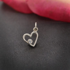 Sterling Silver Birthstone Heart Charm -April Diamond