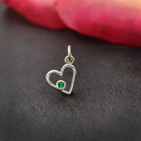 Sterling Silver Birthstone Heart Charm -May Emerald