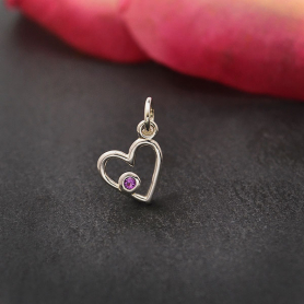 Sterling Silver Birthstone Heart Charm -June Alexandrite