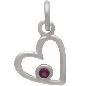 Sterling Silver Birthstone Heart Charm -July Ruby
