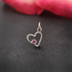 Sterling Silver Birthstone Heart Charm -July Ruby