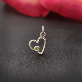 Sterling Silver Birthstone Heart Charm -August Peridot