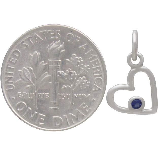 Sterling Silver Birthstone Heart Charm -September Sapphire