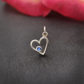 Sterling Silver Birthstone Heart Charm -September Sapphire