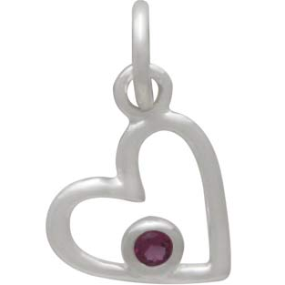 Sterling Silver Birthstone Heart Charm -October Tourmaline