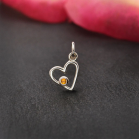 Sterling Silver Birthstone Heart Charm -November Gold Topaz