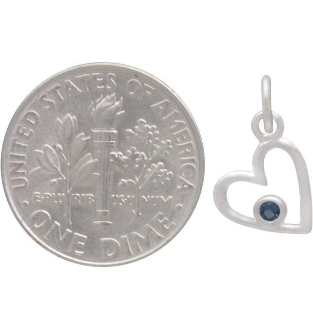 Sterling Silver Birthstone Heart Charm -December Blue Topaz
