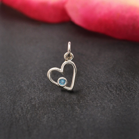 Sterling Silver Birthstone Heart Charm -December Blue Topaz