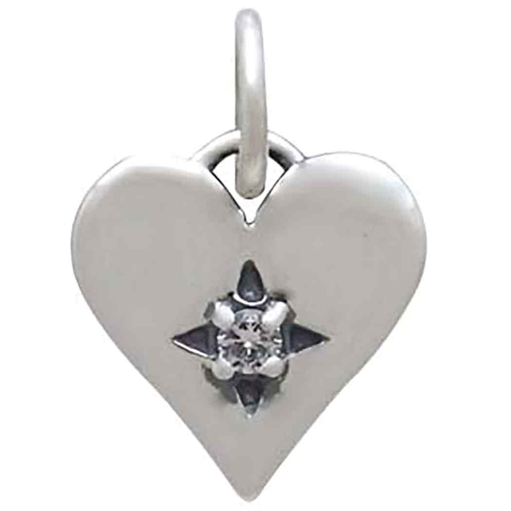 Sterling Silver Heart Charm with Clear Nano Gem 14x10mm