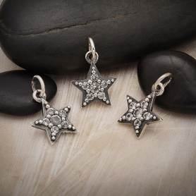 Sterling Silver Star Charm with Nano Gems 16x11mm