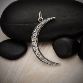 Sterling Silver Crescent Moon Pendant with Nano Gems 31x15mm