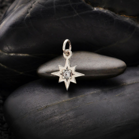 Sterling Silver 8 Point Star Charm with Nano Gem 16x11mm