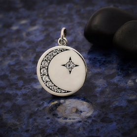 Silver Disk Charm with Nano Gem Star and Moon 21x15mm