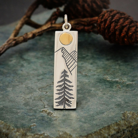 Sterling Silver Pine Tree Charm with Bronze Sun 31x7mm