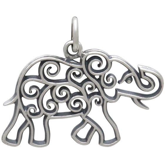 Sterling Silver Elephant Charm with Scrollwork 20x24mm
