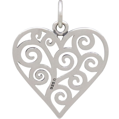 Sterling Silver Heart Charm with Scrollwork 22x17mm