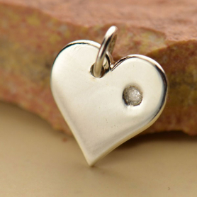 Sterling Silver Heart Charm with Genuine Diamond 13x11mm
