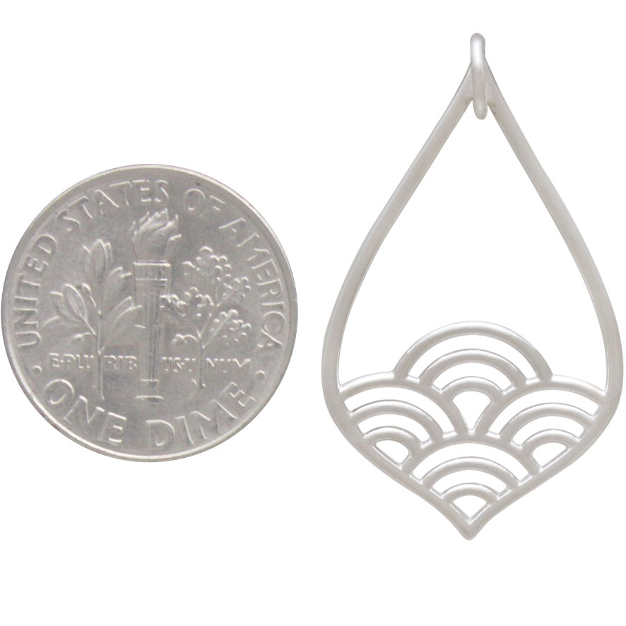 Sterling Silver Teardrop Charm with Wave Pattern 32x19mm