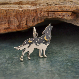 Sterling Silver Wolf Charm with Bronze Star and Moon 17x20mm
