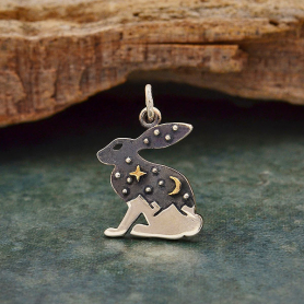 Sterling Silver Hare Charm with Bronze Star and Moon 20x14mm