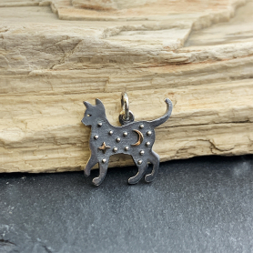 Sterling Silver Cat Charm with Bronze Star and Moon 17x16mm