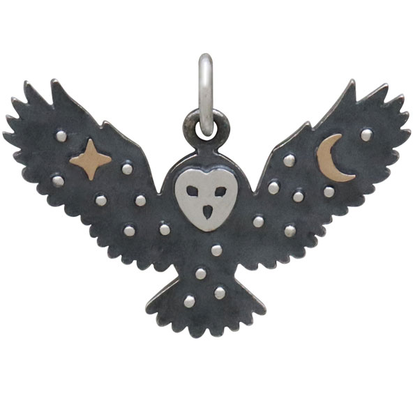 Sterling Silver Owl Charm with Bronze Star and Moon 18x25mm