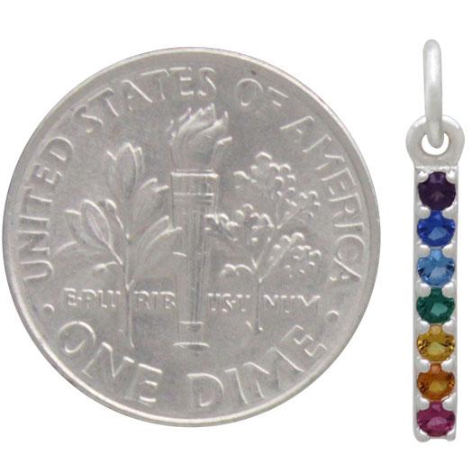 Sterling Silver Rainbow Bar Charm with Nano Gems 19x2mm