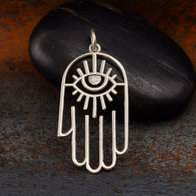 Sterling Silver Hamsa Hand Pendant with Evil Eye 33x16mm