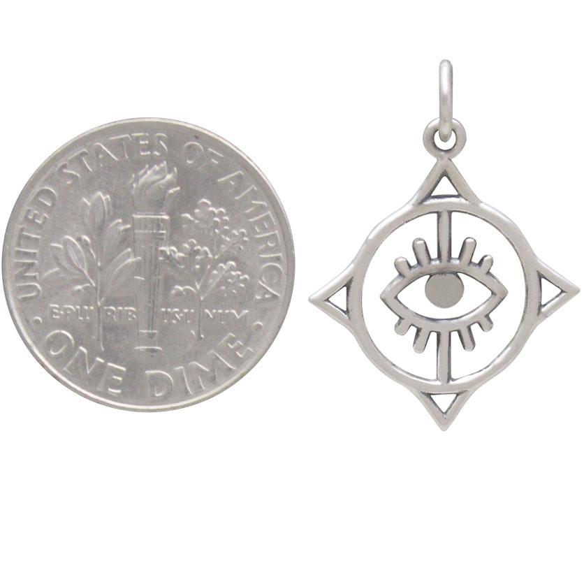 Sterling Silver Geometric Evil Eye Charm 23x18mm