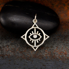 Sterling Silver Geometric Evil Eye Charm 23x18mm