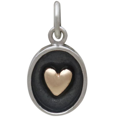 Sterling Silver Shadow Box Charm with Bronze Heart 16x8mm