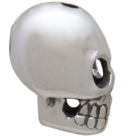 Sterling Silver Skull Bead with Vertical Hole 12x7mm