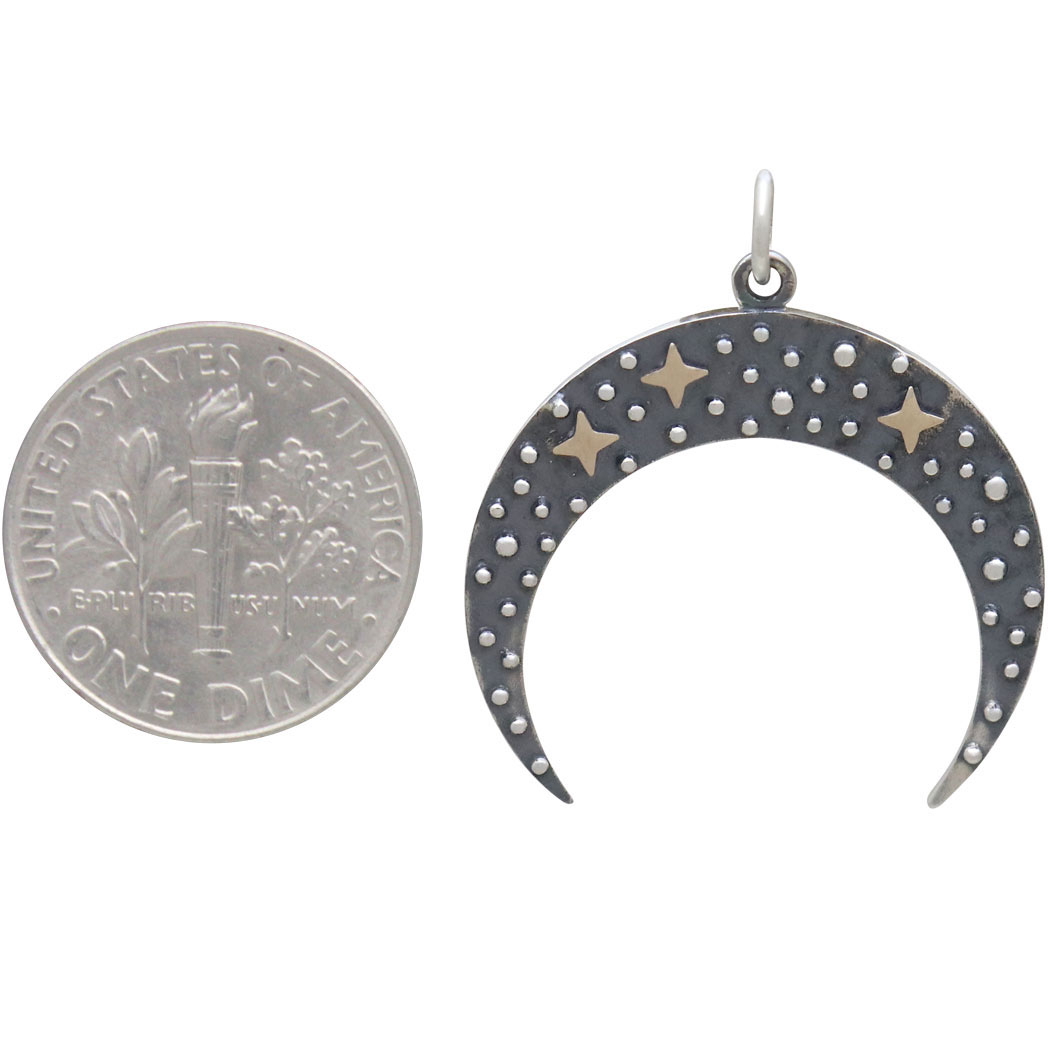 Sterling Silver Moon Pendant with Bronze Stars 28x25mm
