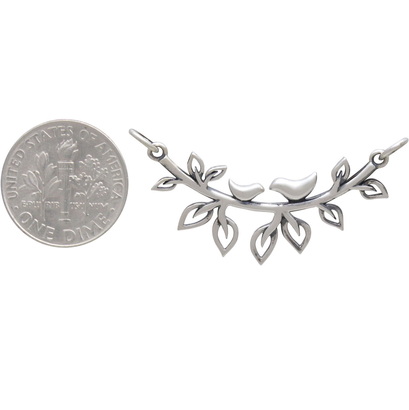 Sterling Silver Mama and Baby Bird on Branch Festoon 21x33mm