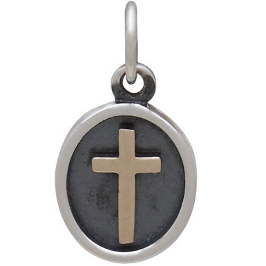 Sterling Silver Shadow Box Charm with Bronze Cross 16x9mm