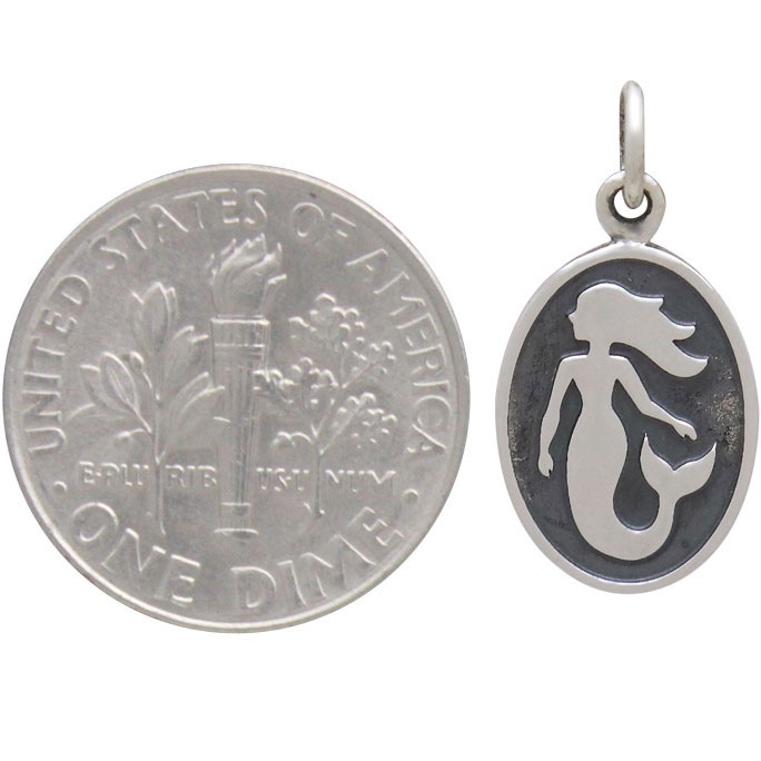 Sterling Silver Mermaid Charm on Oval Disk 20x10mm