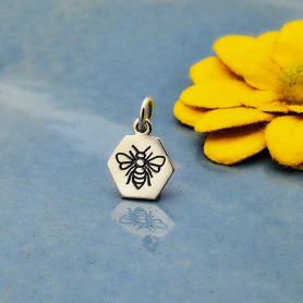 Sterling Silver Hexagon Charm with Etched Bee 15x10mm