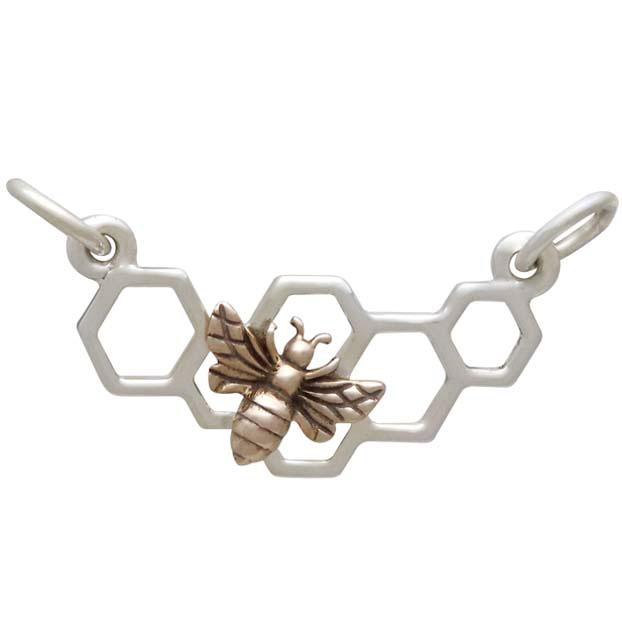 Silver Honeycomb Pendant Festoon with Bronze Bee 13x20mm