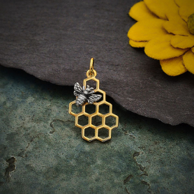 Bronze Honeycomb Charm with Silver Bee 23x11mm