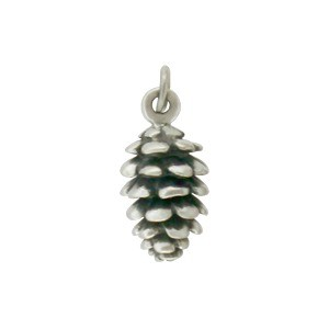 Sterling Silver Pinecone Charm 17x7mm