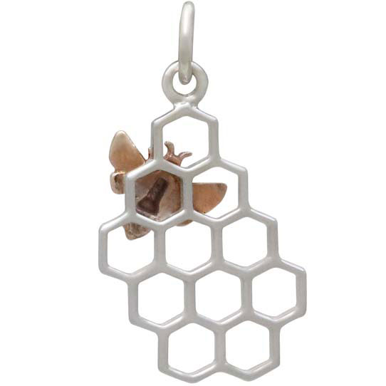 Silver Honeycomb Charm with Bronze Bee 23x11mm Left Side