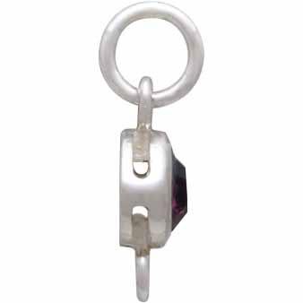 Sterling Silver Swarovski Birthstone Link February 14x5mm