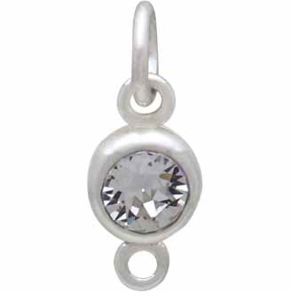 Sterling Silver Swarovski Birthstone Link April 14x5mm