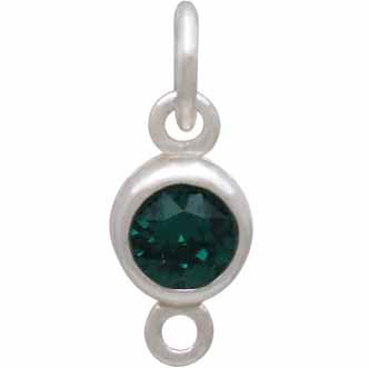 Sterling Silver Swarovski Birthstone Link May 14x5mm